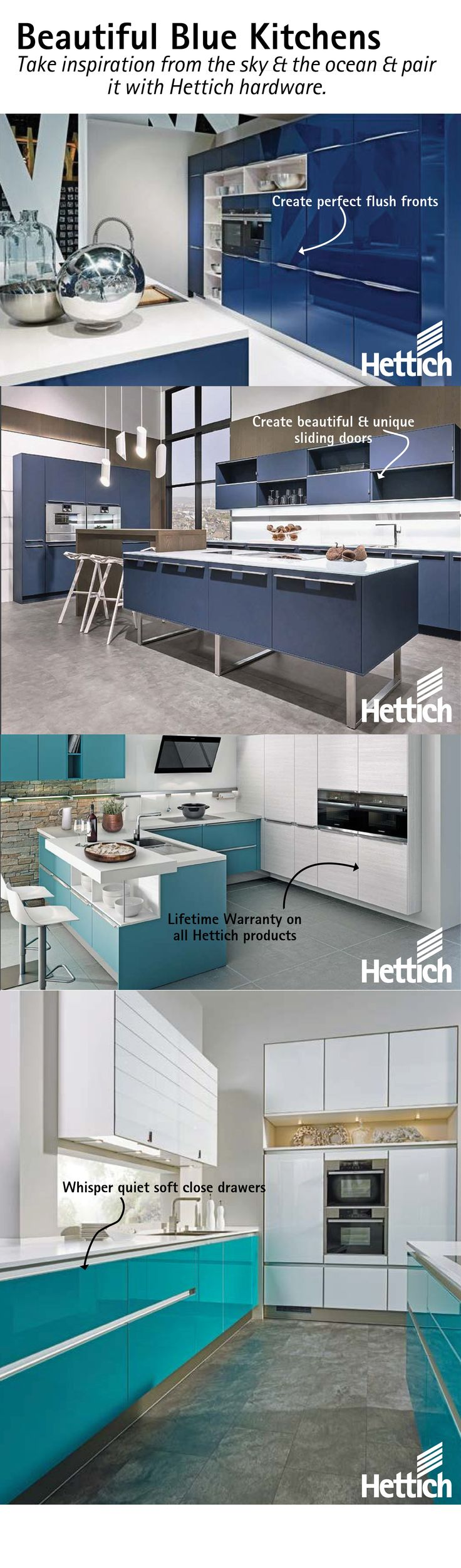 Beautiful blue kitchen inspiration from Hettich, click the pin for our Trend Report book. #designerkitchen #bluekitchencabinets