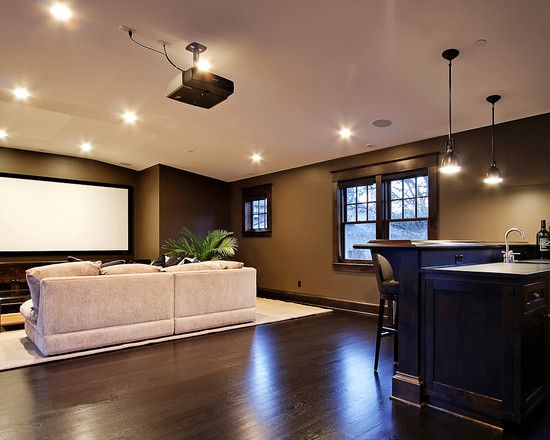 Great Carpeting Ideas For Basements: Simple But Manly Man Cave...with Dark Stained Red Oak