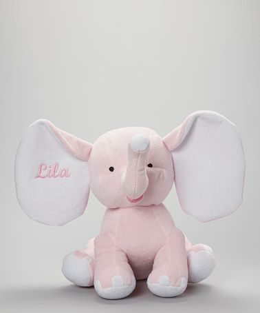 Take a look at this Pink Plush Personalized Elephant by Kitteroo Custom Embroidery on #zulily