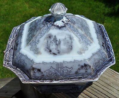 Antique Staffordshire Flow Mulberry Ironstone Covered Bowl Rhone Scenery Mayer
