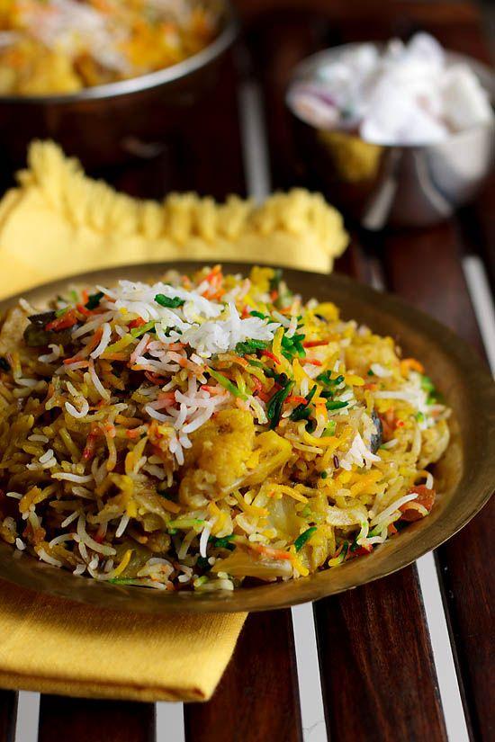 Hyderabadi Biryani recipe is made with vegetables also known as Tahiri or Tarkari Biryani with stepwise instructions.