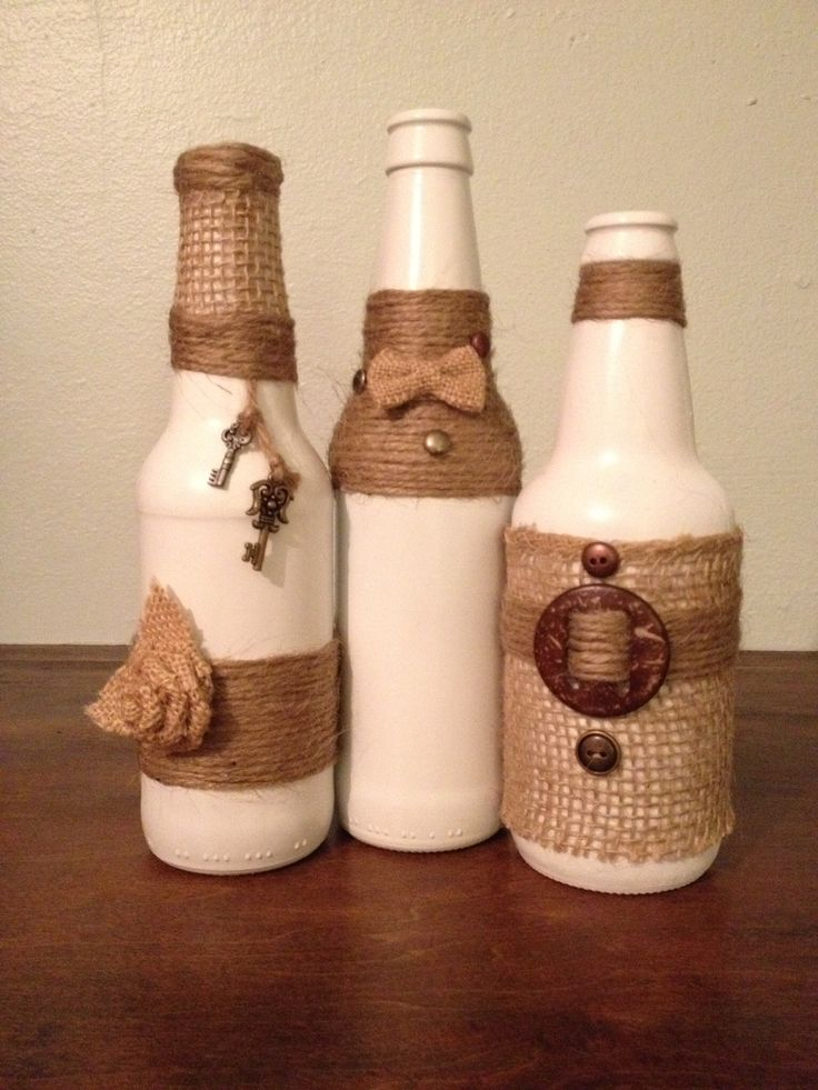 Repurposed bottles for home decor