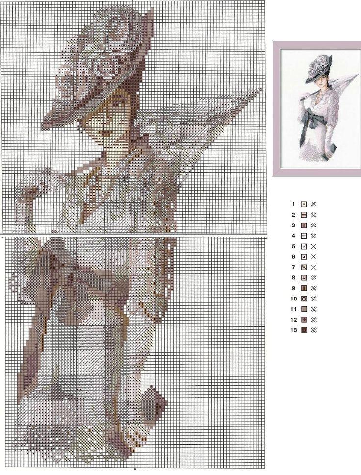0 point de croix femme en robe dentelle - cross stitch lace dress romantic lady