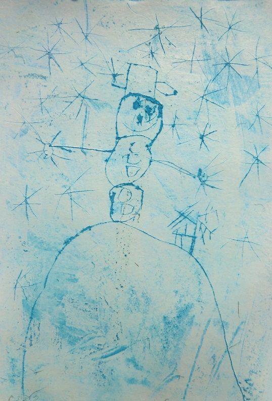 CHUMELÍ SE, CHUMELÍ - lineární zmnožení vloček doplněné kresbou libovolného zimního motivu (rytá kresba do klovatiny)