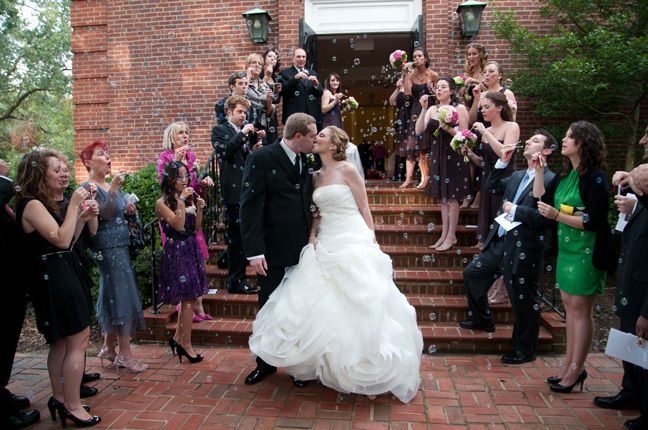 outside wedding kiss at a maryland wedding