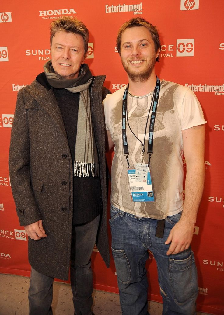 """David Bowie supports his son, director Duncan Jones (pictured right) at the premiere of his movie """"Moon"""" during the 2009 Sundance Film Festival at Eccles Theatre on Jan. 23, 2009 in Park City, Utah. Bowie also left behind his daughter Alexandria """"Lexi"""" Zahra Jones and wife supermodel Iman."""