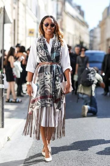 fall trend - belted at the waist | belted scarf worn over a shirt dress with white heels - clever!