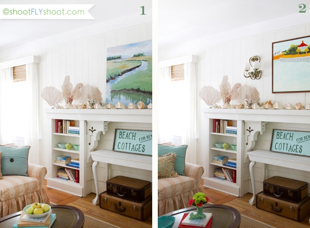 beach cottage photo shoot inspiration ~ love the shelving and corbels supporting the mantle