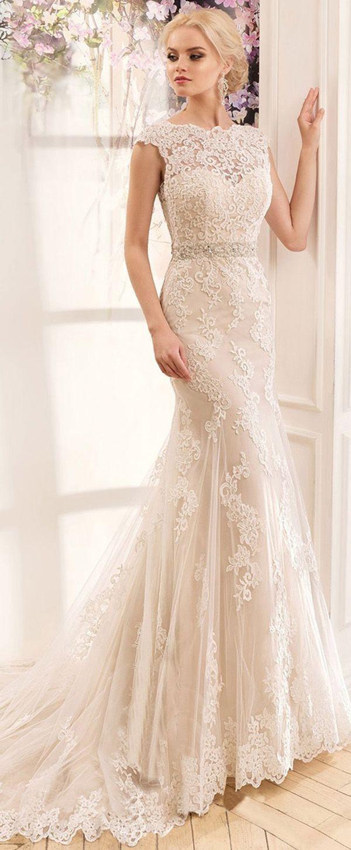 Lavish Tulle & Satin Bateau Neckline Mermaid Wedding Dresses With Lace Appliques