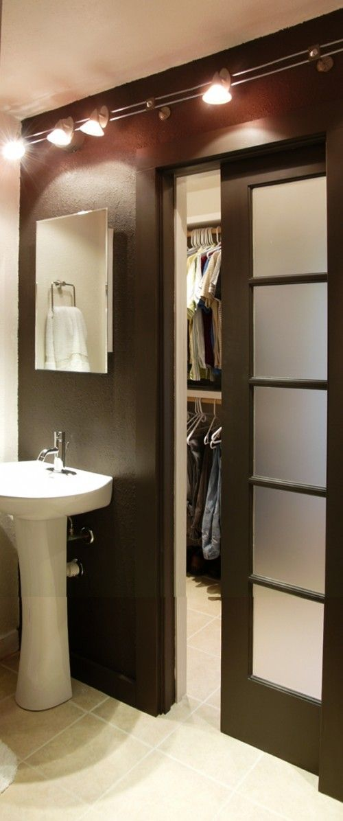 390 best small space bathrooms big dreams images on for Small sliding glass doors