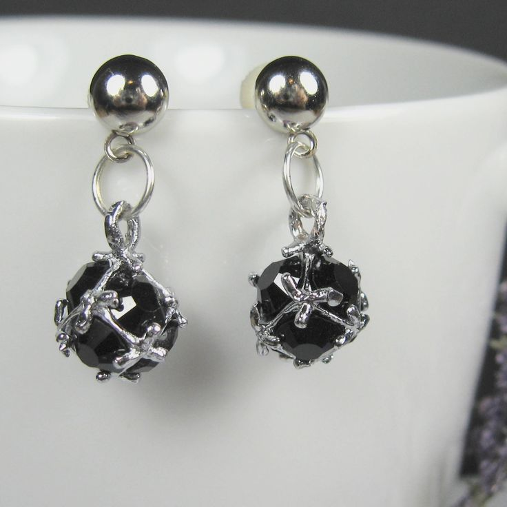Small black post earrings, surgical steel nickel free earrings, petite drop earrings, dainty earrings, silver dangle, bridesmaids jewelry by AndesBeads on Etsy