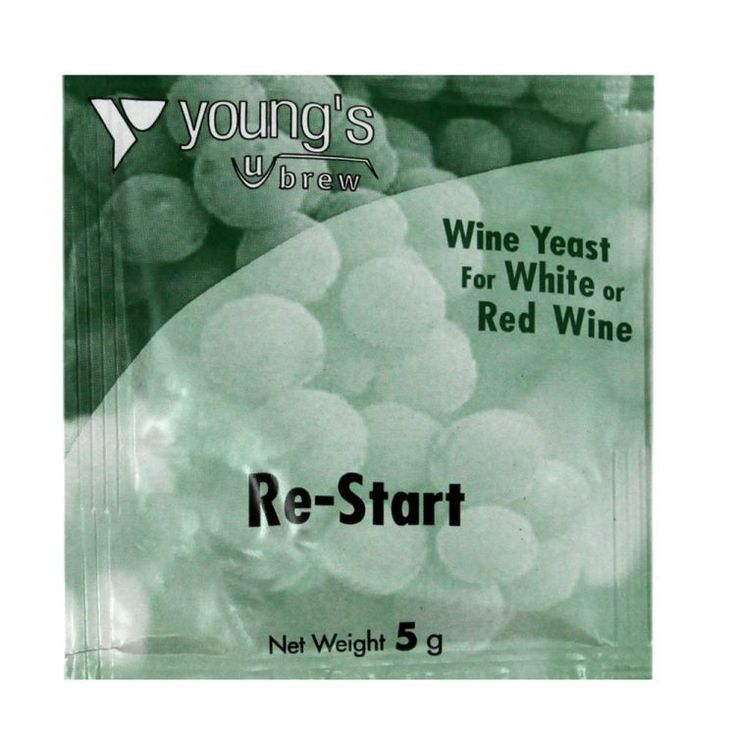 YOUNGS RE-START WINE YEAST  , HOMEBREW FREEPOST UK ,FOR RED OR WHITE WINE