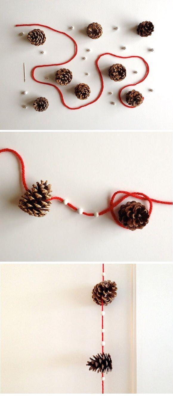 des pommes de pin + de la laine + des perles = 1 guirlande déco Noël
