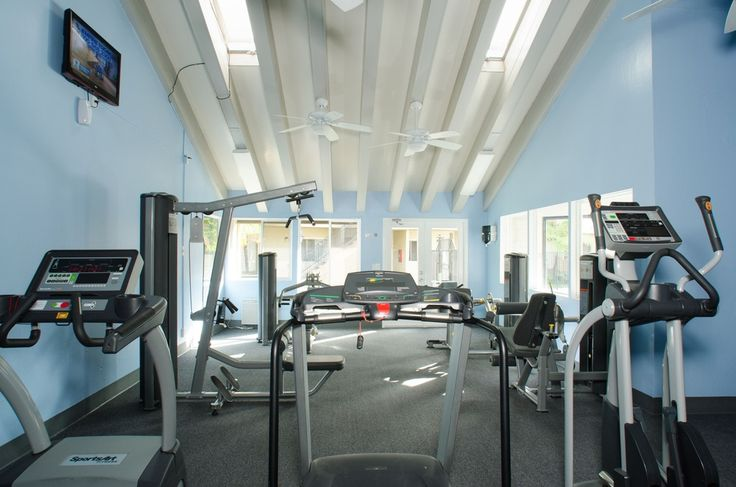 Traditional Home Gym with High ceiling, Exposed beam ...