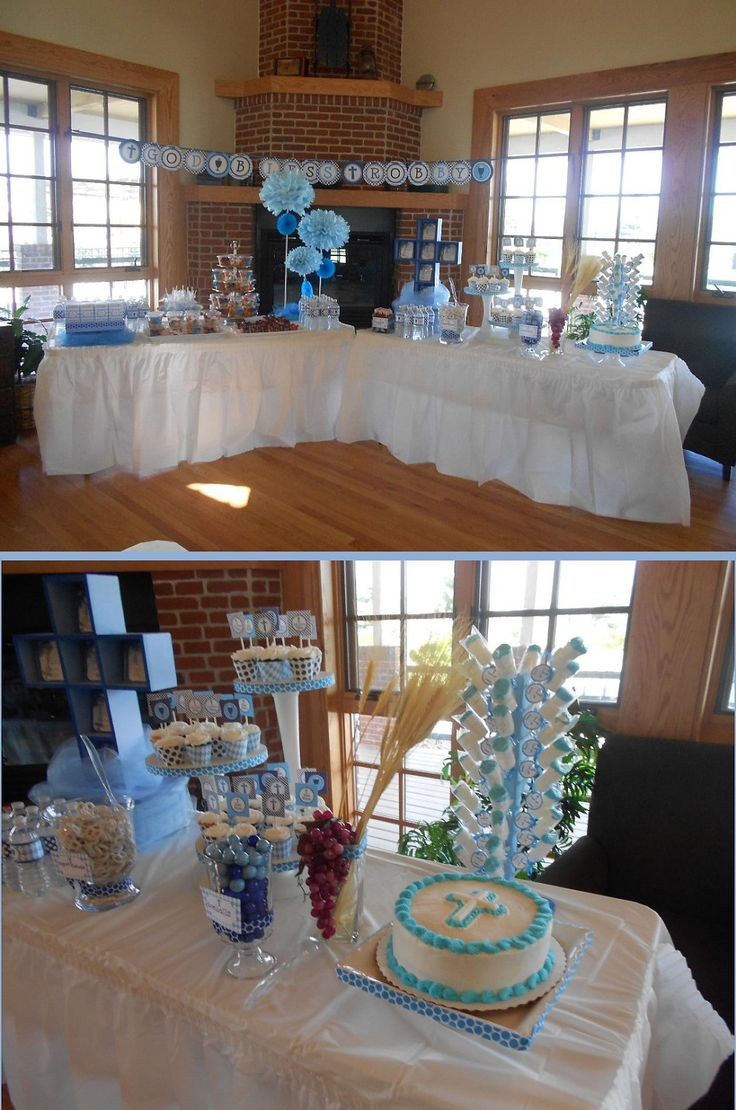 Baptism christening 1st communion boy party decor for 1st communion decoration ideas