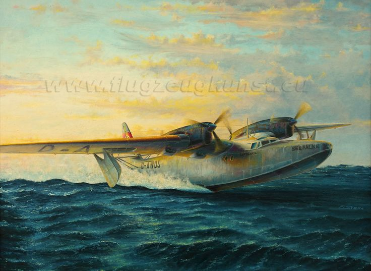 """Dornier Do26V2 """"SEEFALKE"""". Take off (February 1939). This aircraft carried auxiliary goods for earthquake victims in Chile. Oel on hardboard , 70 x 52cm .  www.flugzeugkunst.eu"""