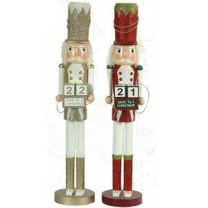 Καρυοθραύστης 68cm ξύλινος με ημερολόγιο Χριστουγέννων σε δύο χρώματα