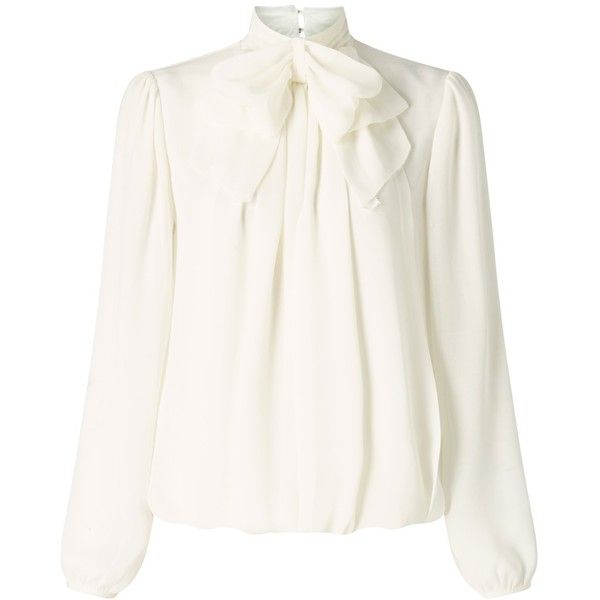Somerset by Alice Temperley Bow Blouse , Ivory found on Polyvore featuring tops, blouses, ivory, long sleeve tie neck blouse, white tie neck blouse, vintage blouses, long blouse and neck ties