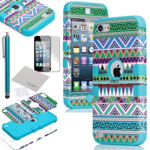 Pandamimi ULAK 3 in 1 Hybrid Green Hard Aztec Tribal Pattern and Blue Silicon Case Cover For Apple iPod Touch 5th Generation + Screen Protector + Blue Stylus by ULAK, http://www.amazon.com/dp/B00BVVFM2I/ref=cm_sw_r_pi_dp_WxTKrb0DN4JG5