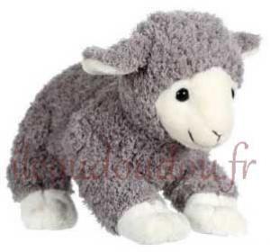 Peluche mouton gris clair et beige  Agneau douceur Gipsy