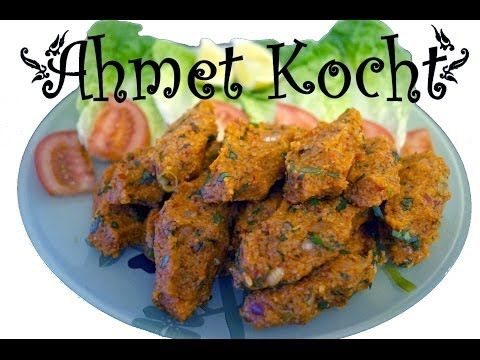 ▶ Rezept: Çiğ Köfte - AhmetKocht - Folge 65 - YouTube I don't want to try the original version which has raw meat, but these look great!