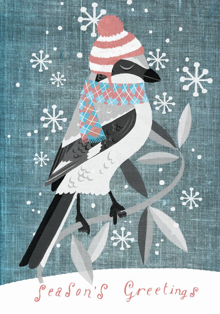 christmas night bird, greeting card by marco marella, https://www.behance.net/marcomarella