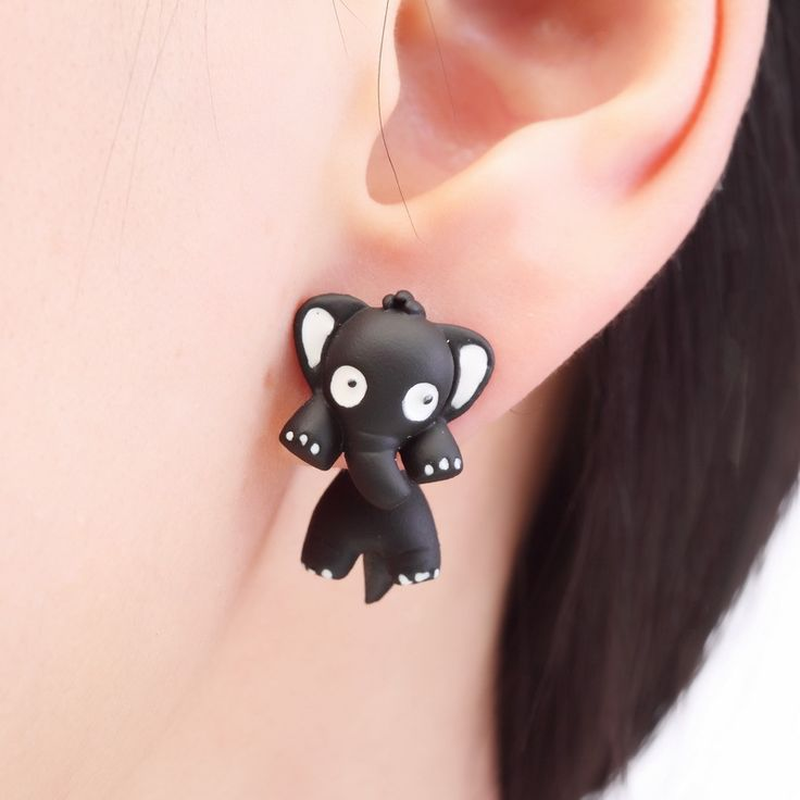 Kittenup 2016 New Fashion Cartoon Animal Jewelry Pink Black Green Cute Elephant Stud Earrings For Women