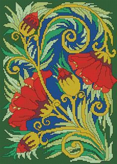 Скачайте схемы Картина «Яркая хохлома», вид рукоделия Вышивка крестом - Валентина.ру
