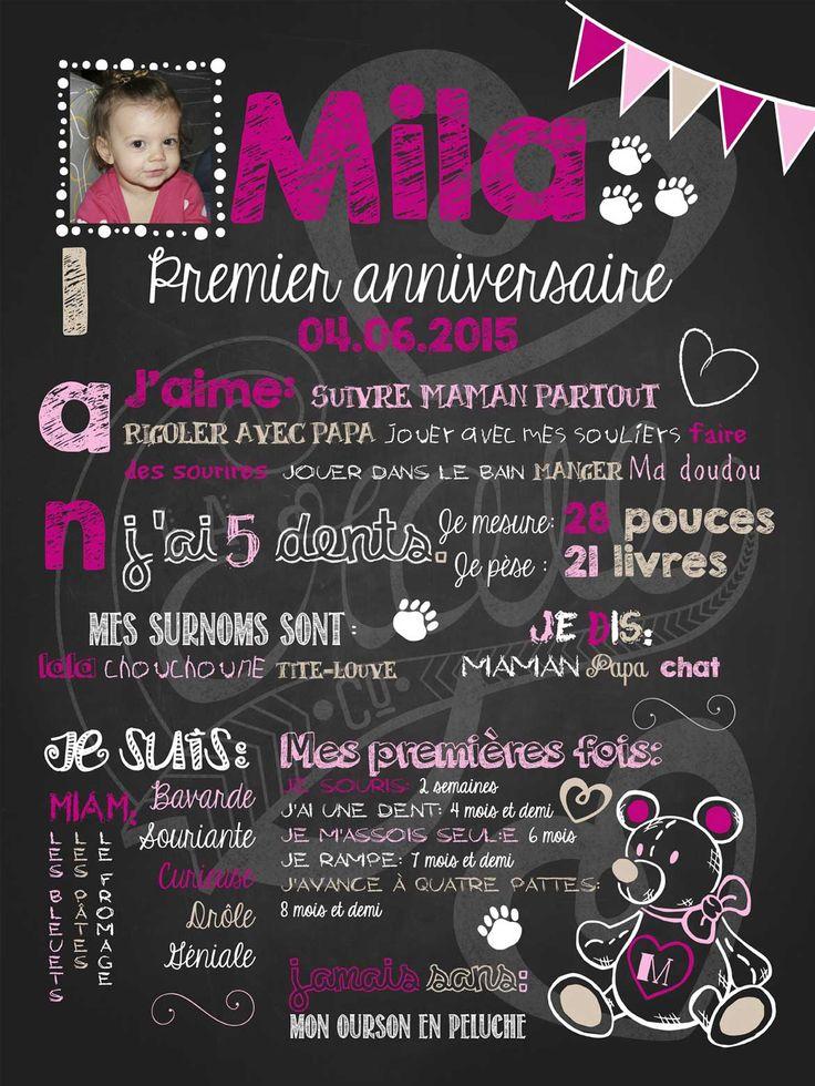 Affiche personnalisée 1er anniversaire Nounours d'amour (fuschia) | 30,00$ #chalkboard
