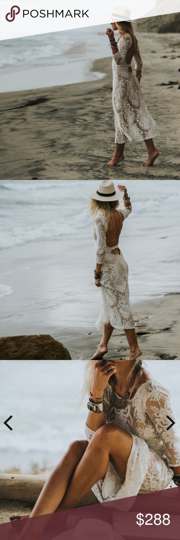For Love + Lemons San Marcos Dress in White S Free People FLL San Marcos Dress in White, modest, sexy and timeless. Excellent condition, runs small  Sheer mesh lace. Plunging open back with lower back band. Self-covered band defines natural waist. Wide neckline; three-quarter sleeves. Lightly gathered maxi skirt. Fluted hem falls above ankle. Hidden side zip. Cotton; nylon/spandex. Imported of domestic material. For Love And Lemons Dresses Maxi