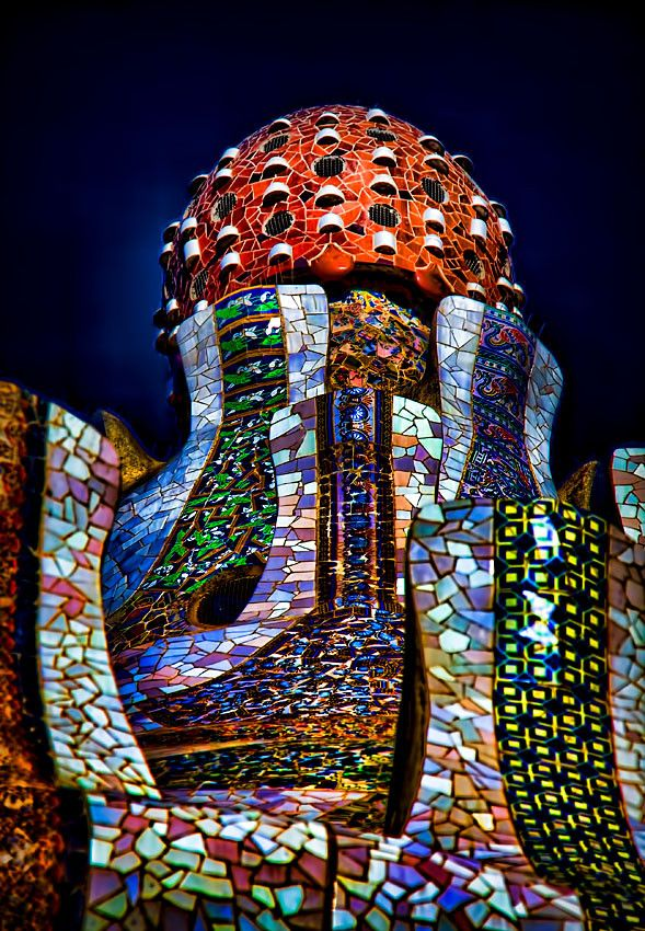 Trencadis mosaic artwork and dome atop the gatehouse (aka Gingerbread or Warden's House) at Park Güell in Barcelona, Spain • architects: Antoni Gaudí and Josep Maria Jujol • photo: Danilo Atzori on Flickr