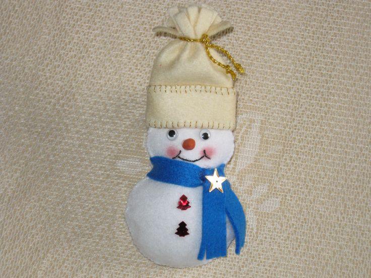 Simpatico hombre de nieve colgante hechoe ne paño lency