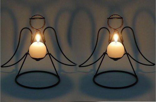 2 anjos vela natal decoração religioso anjinho ferro