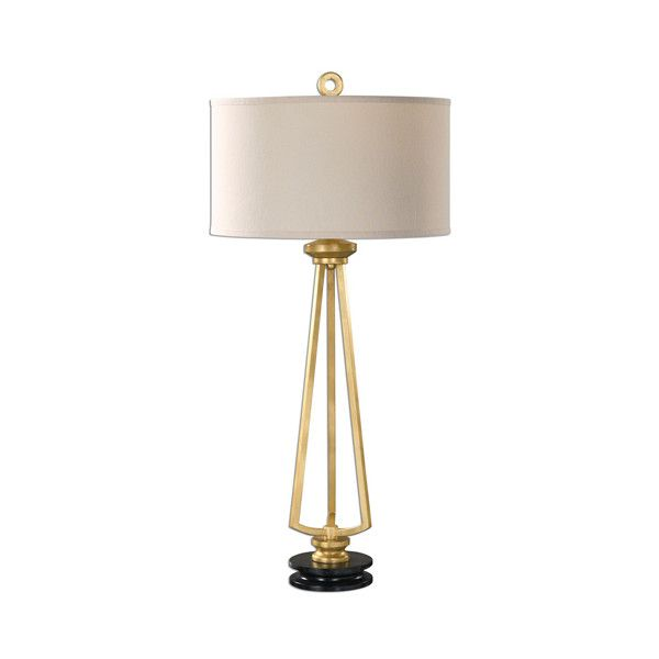 Uttermost Torano Antique Gold One-Light Table Lamp ($257) ❤ liked on Polyvore featuring home, lighting, table lamps, round lamp, drum lamp shade, uttermost lighting, uttermost table lamps and round shades
