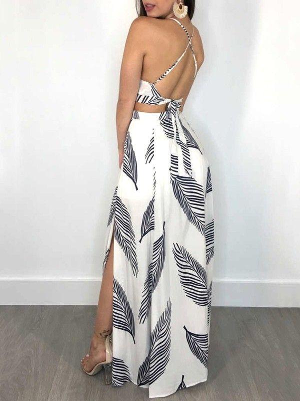 Leaf Print Backless Cami Top Split Maxi Skirt Set Vestidos