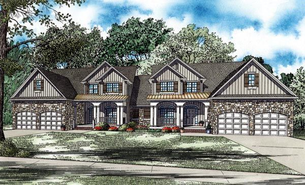 This too could be easily modified to provide a family vacation home for our future generations! Duplex Plan chp-48850 at COOLhouseplans.com