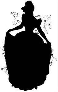 Cinderella black silhouette. For a girl's room, silver spray paint over the outline. Cute :)