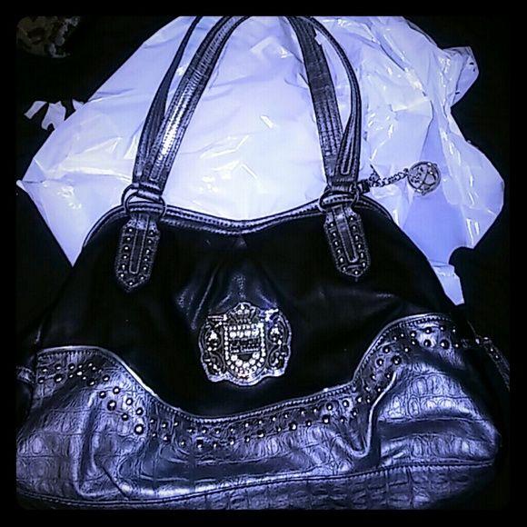 Kathy van zeeland purse black and silver Kathy bag. some wear on straps as shown in pic Kathy Van Zeeland Bags Hobos