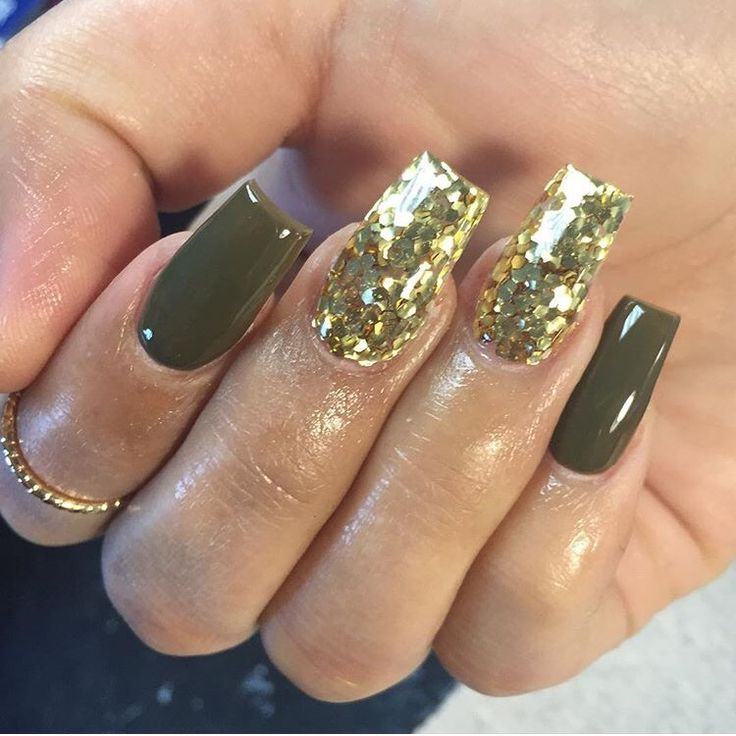 45 Best Images About Olive Green Nails On Pinterest Coffin Nails Olives And Dark Skinned Women Olive Nails Gold Acrylic Nails Green Nails