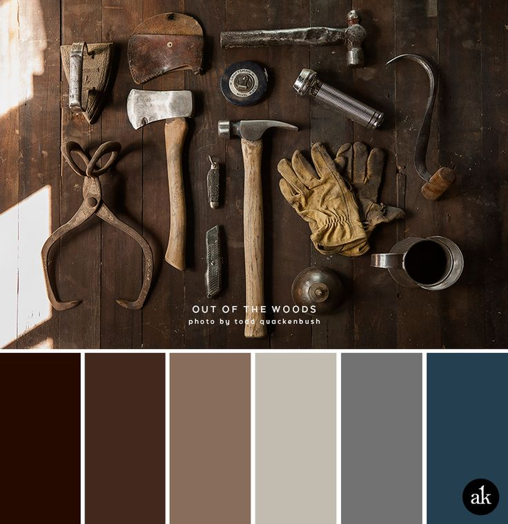 a rust-inspired color palette // coffee, chestnut brown, tan, dirty silver, metal gray, steel blue More