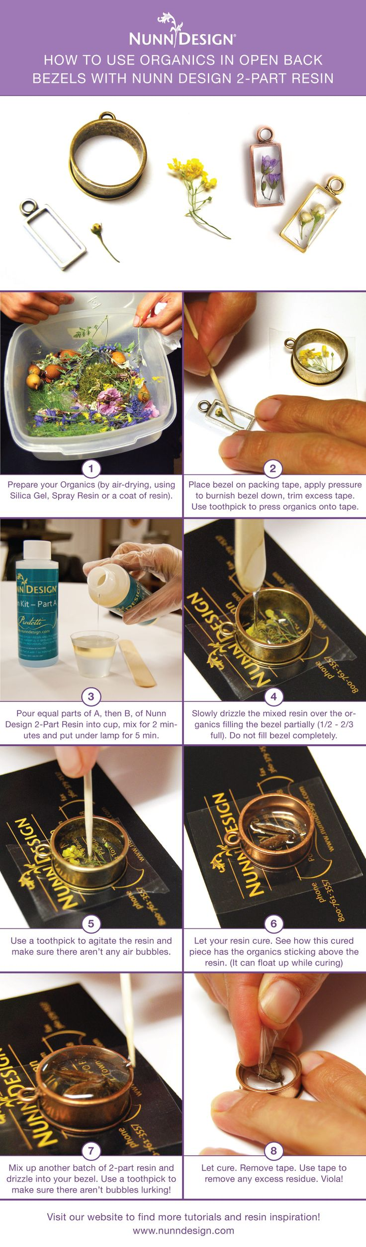Learn how to prepare organics to add into Nunn Design 2-Part Resin with these helpful tips. Visit the blog for a full tutorial: www.nunndesign.co... jewelry woman - http://amzn.to/2iQZrK5