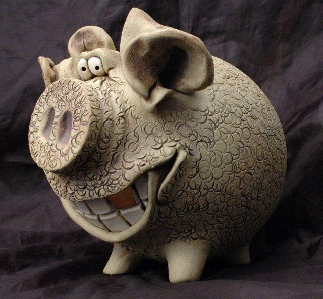 Folk Art Stoneware Pottery Piggy Bank, Gold Tooth, Funny Face signed Deb Kenoyer. $36.99 on GoAntiques