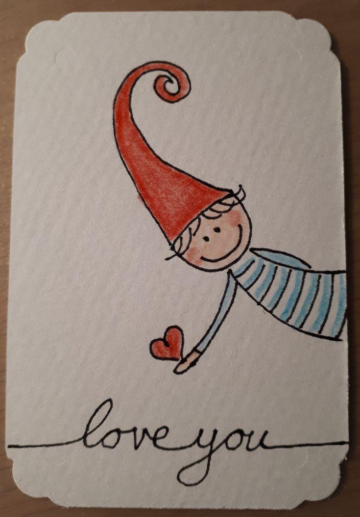 Doodle drawing lief ❤ kaartje