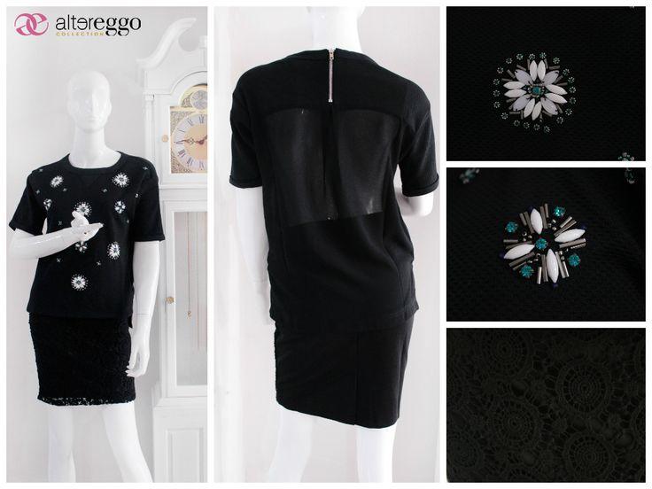 #moda #fashion #otoño #invierno #2014 #nueva #temporada #nueva #coleccion #NewCollection #moda #para #chicas #blusa #flores #pedreria #piedras #negra #black #falda #crochet #divina