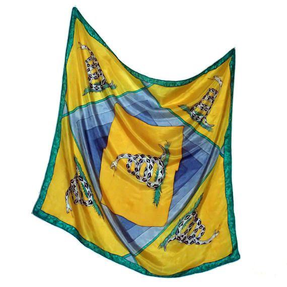 Gadsden flag square scarf silk libertarian caree yellow gray