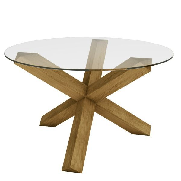 Solid Oak Crossed Leg Dining Table With A Glass Top And Finished With  Linseed Oil. Crossed Leg Table   Beautiful Solid Oak Circular Table Which  Can Be ...