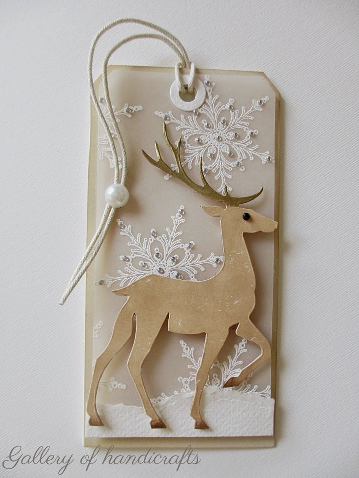 Gallery of handicrafts christmas tag / card - pranching deer sizzix tim holtz snow #deer, snowflakes snowflake