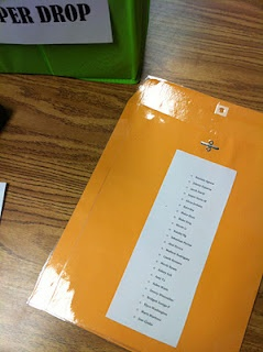 This is an awesome website...this idea is for every assignment turned in, to have an envelope with a class list on the back. Students hand in their assignment, and cross off their name.
