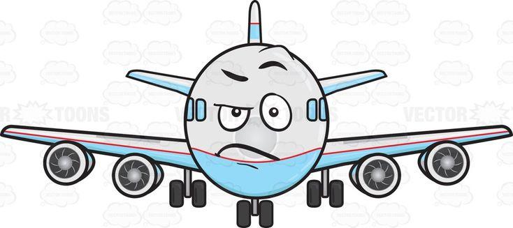 Angered Look On Jumbo Jet Plane Emoji | Stock Cartoon Graphics ...