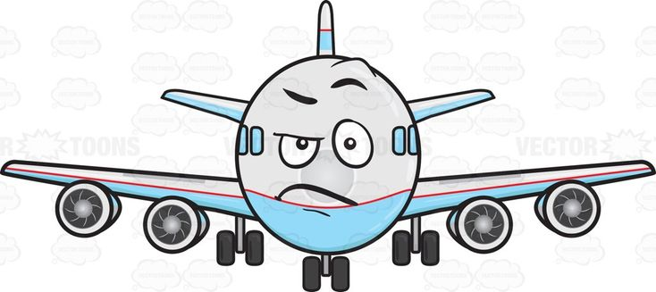 Angered Look On Jumbo Jet Plane Emoji   Stock Cartoon Graphics ...